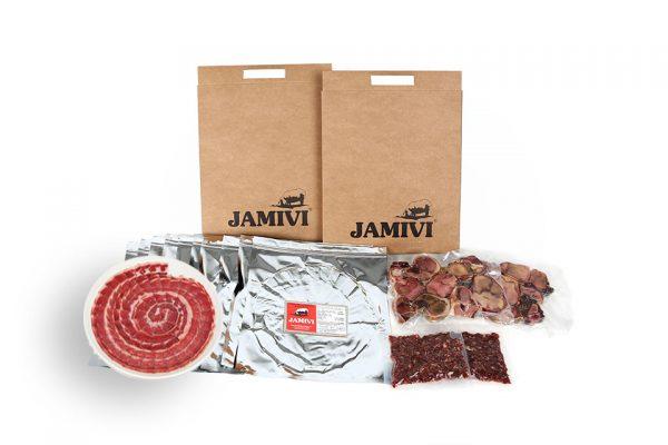 caja de 20 sobres paleta de bellota ibérico jamivi jamon de villanueva de Córdoba jamondecordoba