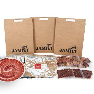 caja de 30 sobres jamón de bellota ibérico jamivi jamon de villanueva de Córdoba jamondecordoba