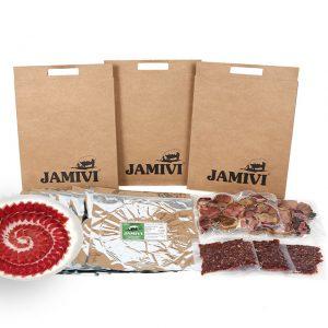 caja de 30 sobres jamón de cebo de campo ibérico jamivi jamon de villanueva de Córdoba jamondecordoba