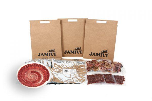 caja de 30 sobres jamón de cebo ibérico jamivi jamon de villanueva de Córdoba jamondecordoba