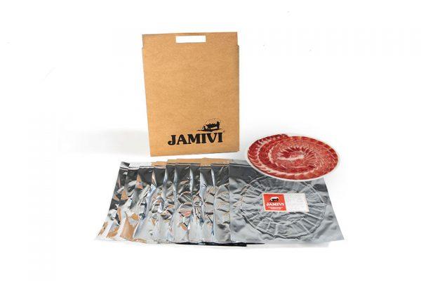 pack de 10 sobres jamón de bellota ibérico jamivi jamon de villanueva de Córdoba jamondecordoba